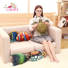 1Pc Fish Turtle Plush Stuffed Animal Toy Soft Plush Toy Creative Animal Pillows with Hot Water Bottles(China)