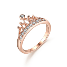 DROLE Rose Gold Color Crown Zircon Engagement Cute Wedding Party Ring for Women Fashion Jewelry 2017
