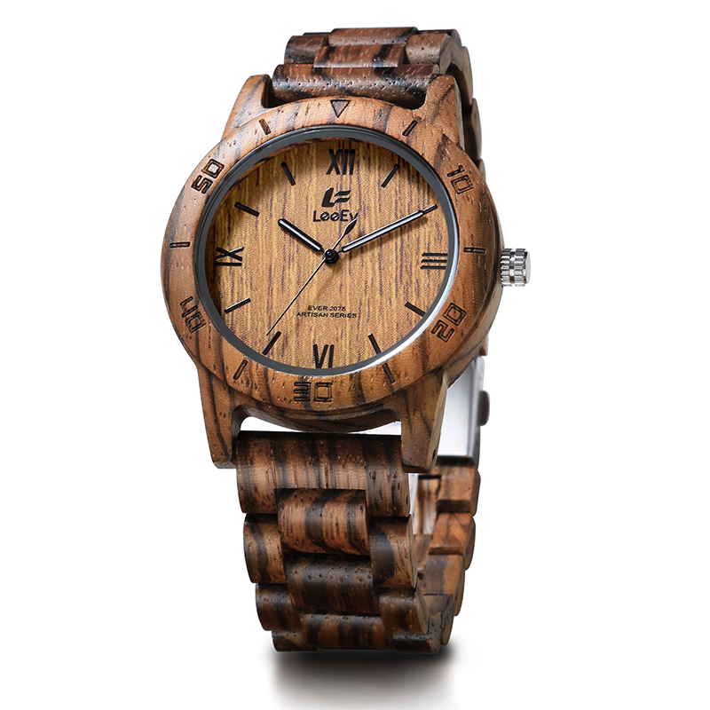 LeeEv EV2075 Mens Wood Watch for Men HandCrafted Zebra Sandal Wood Vintage Wooden Watches Mens Gifts<br>