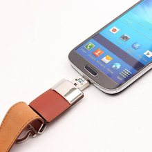 Portable Leather USB3.0 Flash Drive OTG Pen Drive 64GB/32GB/16GB/8GB High Speed Metal USB Flash Drive(China)