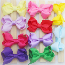 F26  Free shipping Baby Girl Hair Bow with Ribbon Lined Clip on Card Perfect  Children Hairpin color sent randomly 10pcs/lot