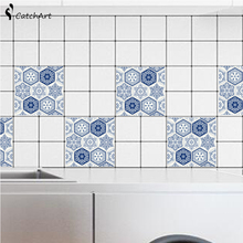 10Pcs Retro Mosaic Square Self Adhesive Tile Stickers Decal Home Decor Wall Art Kitchen PVC Waterproof Tile Sticker(China)