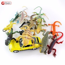 Wiben 12pcs/lot Mini Lizard Insects toy Action & Toy Figures PVC Animal Model Learning & Educational Children's Toys(China)
