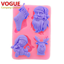 Christmas Santa Sock Deer Mold for Fondant Sugar Jello Jelly Ice Soap Cake Decorating Tools Silicone Mould Xmas N1687