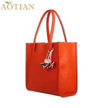 Fashion Hot New AOTIAN Elegant girls handbags leather shoulder bag candy color flowers Women tote drop ship