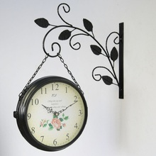 2016 Wrought Iron Wall Clock Double Sided Wall Clocks Vintage Kitchen Watch Large Digital Clocks Klok Reloj Pared Duvar Saati