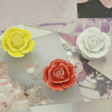 Rose Flower Handles Cabinet Ceramic Knobs Rose Flowers Kitchen Handles Dresser Closet Kids Bedroom Furniture Knobs 5 Colors
