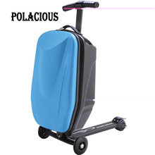 100%PC Fashion Students Scooter Suitcase Boy Cool Trolley Case 3D Extrusion Business Travel Luggage Child Boarding Box 2 Types