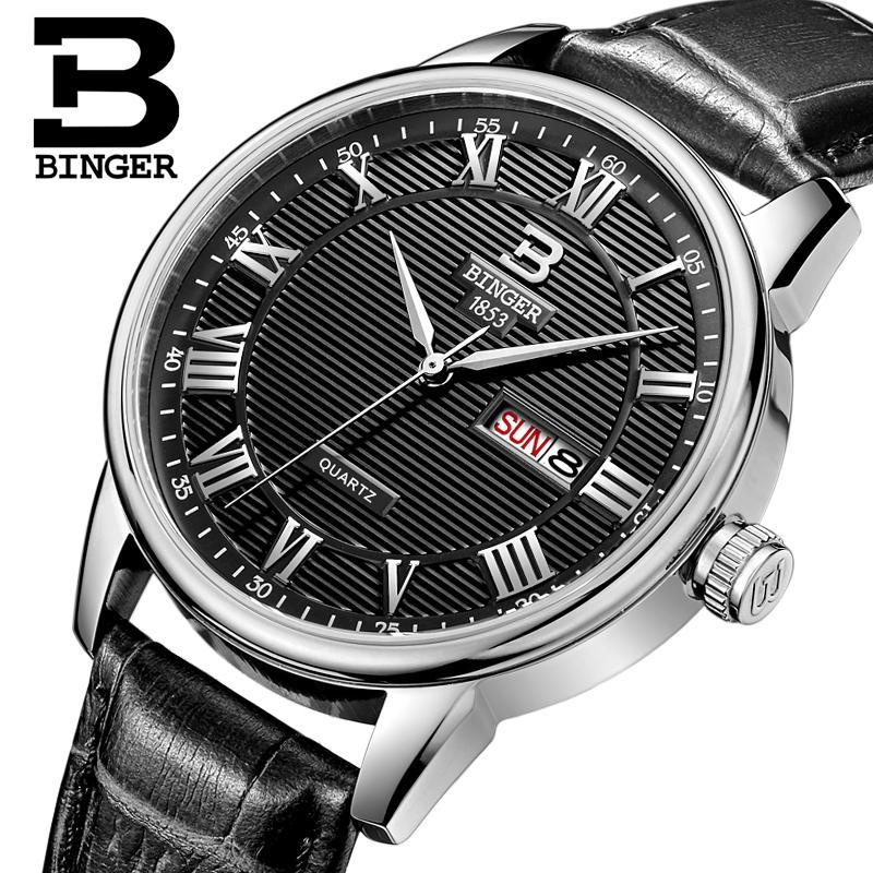 Switzerland mens watch luxury brand Wristwatches BINGER ultrathin Quartz watch leather strap Auto Date Waterproof B3037-4<br>