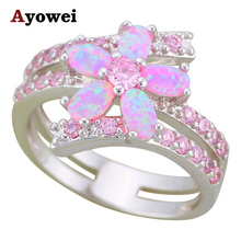 Ayowei Gorgeous Flower Rings Pink Fire Opal 925 Silver High Quality Rings Fashion Jewelry USA Sz #5#6#7#8#9#10 OR880A