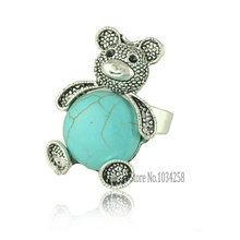 2015 Hot Fashion Cute Adjustable Natural Turquoise Teddy Bear Ring