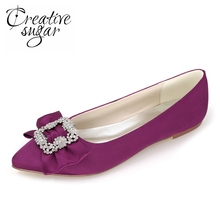 Creativesugar Sweet crystal brooch with bow satin dress shoes flats bridal wedding party prom lady flats evening dress shoes(China)