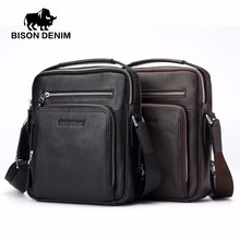 BISON DENIM 2017 Genuine Leather Men Bags Ipad Handbags Male Messenger Bag Man Crossbody Shoulder Bag Men's Travel Bags 2333