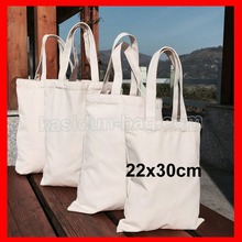 (200pcs/lot) size  22x30cm Wholesale white blank tote canvas shopping bag custom logo