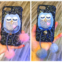 Bling Glitter Hard Case for Iphone X 5 5S SE 6 6S 7 8 Samsung Galaxy S8 Plus Note 8 Lady 3D Owl Cactus Fur Phone Case Cover Back(China)