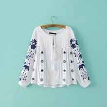 Ladies' Embroidered Peasant Tunic Top Relaxed Fit Blouse Boho Hippie Mexican Loose Blouse(China)