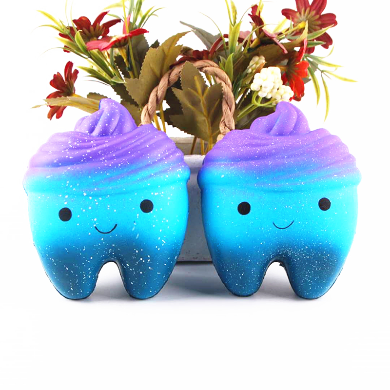 Jumbo Smile Cartoon Curls Teeth Cake Squishy Slow Rising Straps Scented Bread Cake Kids Toy Gift Hot Sale Kawaii Cute 12CM