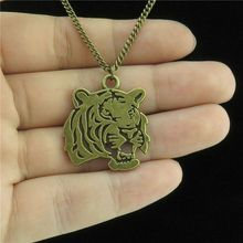 Q738 7-2 Free Shipping Bronze Alloy Women Jewelry Animal Head of Tiger Pendant Short Collar Chunky Necklace 18""