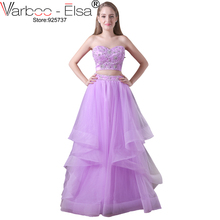 VARBOO_ELSA 2017 Homecoming Dresses 2 Piece Purple Lace Long Evening Dress Beaded Sequined Party Dress Sexy Strapless Prom Dress(China)