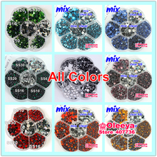 All Colors Mix Sizes Approx 3000pcs/Lot with Flower Box DMC FlatBack HotFix Rhinestones Iron on Motifs Transfer Y3839(China)