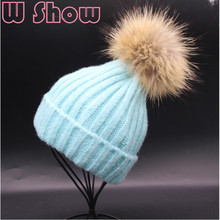 Lady Girl Warm Hippocampus Wool Winter Hat Beanie Big Real Raccoon Fur Pompom Crochet Knitted Hat Bonnet Women Fur Ball Ski Cap