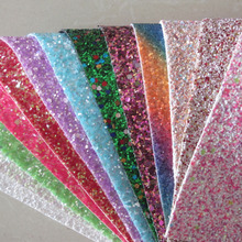 16pcs 21x30cm A4 sheet chunky glitter leather fabric shine glitter fabric glitter pu for craft christmas diy bow AY086(China)
