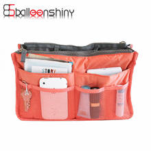 BalleenShiny Nylon Cosmetic Bag Travel Storage Bag Easy Tidy Suitcase Organizer Portable Makeup Container Divider Handbag