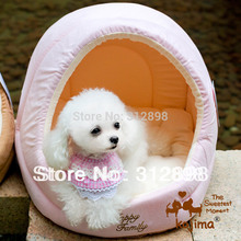 Pink Coffee Egg Design Pet Dog Puppy House With Cushion For Small Animals KJ19 Chihuahua Pitbull S L Brand Cat Accessories Goods(China)