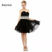 Baijinbai New A-Line Black Sweetheart Beaded Sequined Evening Dress Robe De Soiree Short Cute Women Special Party Dresses(China)