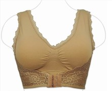 Front button wireless seamless bra , Black khaki color thin push up vest design bra , 34/75 36/80 38/85 40/90 A B C D CUP