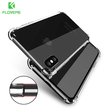 FLOVEME Classic Anti-knock TPU Case For iPhone X iPhone 7 8 Plus Clear Silicon Shockproof Cover For iPhone X Cases Accessories(China)