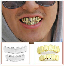 Funny Souvenir Hiphop removable 14K gold plated Copper GRILLZ for Fun Gold Top& lower Teeth Grills Set
