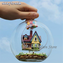 Abbyfrank DIY Glass House Model With Lamp Handmade Miniature Furniture Paradise Falls UP Developing Toys Learning Education