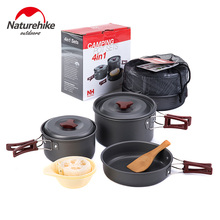 Naturehike 4-in-1 Camping Pot Sets For 2-3 Persons Non-stick Pots Pans Bowls Portable Outdoor Camping Hiking Cook Set Cookware