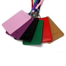 High Quality Leather Id Holders Case PU Business Badge Card Holder with Necklace Lanyard letter print company office supplies
