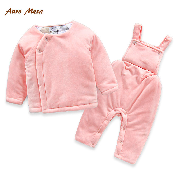Fashion Winter Baby Set Pink Blue Thick Cotton Coat with Overall Infant Snowsuit Warm Coverall Outerwear<br><br>Aliexpress
