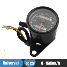 12v 0~160km/h Motorcycle Speedometer Odometer Gauge Black Motorbike Scooter Dual Speed Meter with LED Indicator(China)
