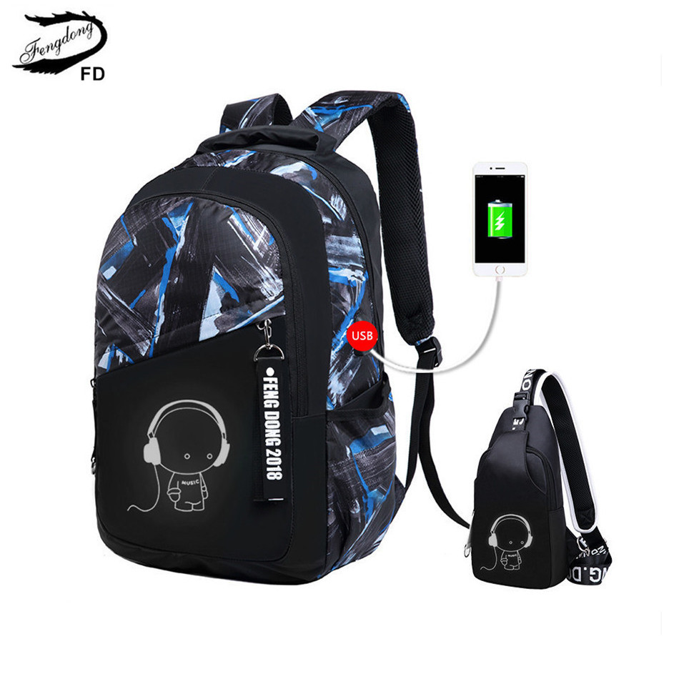 FengDong brand female black usb backpack girls school bags women small chest bag backpacks for teenage girls cartoon travel bag<br>