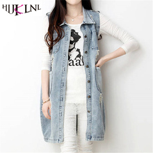 HIJKLNL Denim Vests 2017 Women Ripped Plus Size Medium-Long Summer Waistcoat Turn-down Collar Coat Sleeveless Denim Jacket WY390