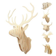 New Design Home Decoration Wood Crafts Gift 3D Wood Puzzle Wooden DIY Model Wall Hanging Animal Wildlife Head Sculpture