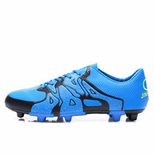 2016 Mens Football Shoes Soccer Boots Leather Long Spikes Football Training Shoes Blue/Green Soccer Cleats 2016 Football Trainer