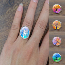 Harajuku Style Jewelry with Silver Plated Tree of Life Pattern Glass Cabochon Adjustable Ring for Women Party Gift(China)