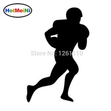 HotMeiNi 11x16cm American Football Soccer Player Silhouette Rugby Sport Man Ball Art Vinyl Sticker Decals for Black/Sliver(China)