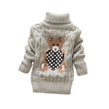 BibiCola baby girls boys autumn/winter wear warm cartoon sweaters children pullovers outerwear babi turtleneck sweater