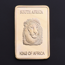 King Of Africa Gold Plated Bullion Bar Deer & Lion Replica Gold Bullion Souvenir Coin BTC334(China)