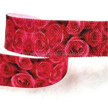 "5/8"" 16mm Rose Printed Fold Over Elastic Ribbon Red Flower Stretch Ribbon DIY Handmade Hair Bows Ponytail Band 10 yards MD-2552"