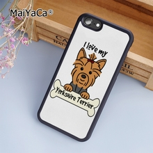 NEW MaiYaCa Yorkshire Terrier Puppy fashion soft mobile cell Phone Case Cover For iPhone 6 6S Custom DIY cases luxury shell(China)
