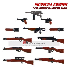 POGO Spray Paint AK Gun World War 2 Machine Rifle Soliders Future Weapons  Action Figure Building Blocks Kids Toys Gifts