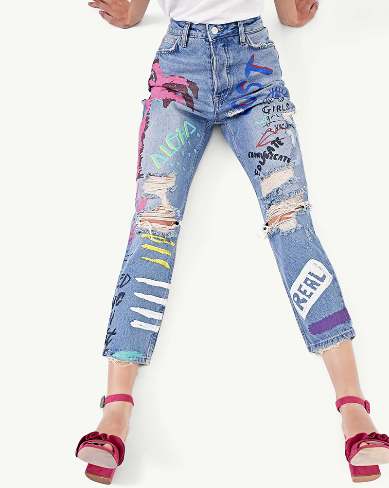 ShejoinSheenjoy Fashion Graffiti Print Jeans Woman High Waist Ripped Jeans For Women Zipper Casual Straight Denim Pants Trousers (12)