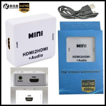 1080P HD MINI HDMI to HDMI+AUDIO Video Converter Decoder Adapter Remove HDCP KEY Agreement Audio Separator,+USB Cable+Gift Box